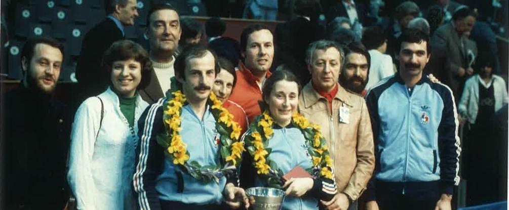 Charles Roesch avec Secrétin et Bergeret en 1977 © DR FFTT